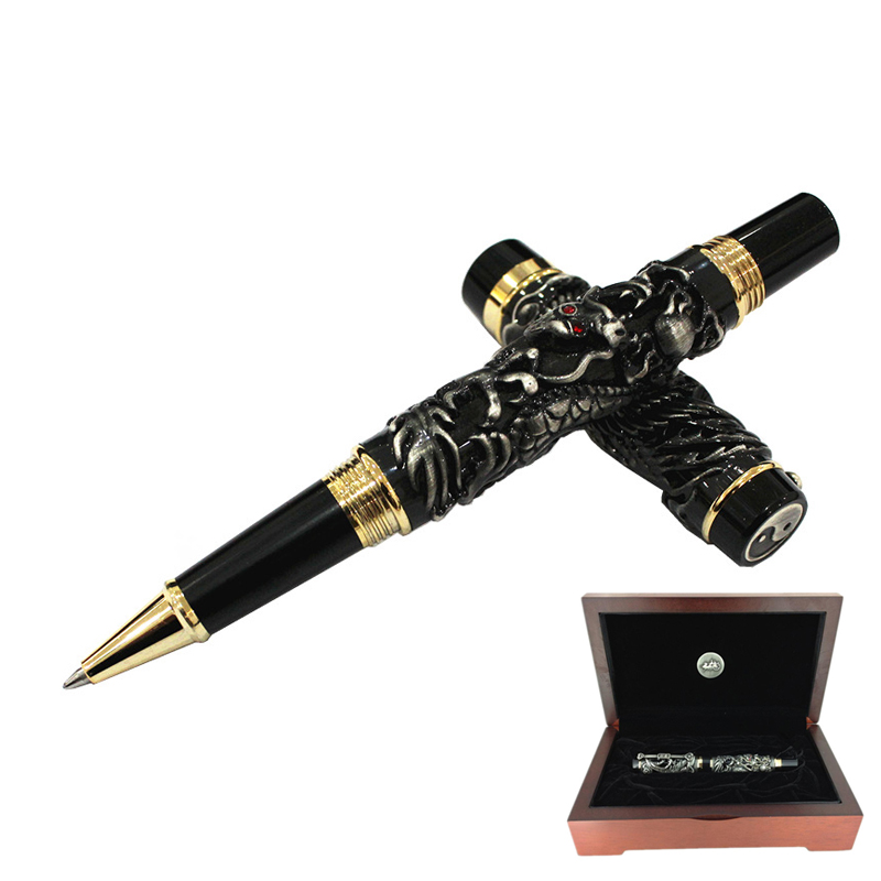 Luxury Jinhao Heavy Dragon Rollerball Pen 0.7mm Black Ink Refill Writing Pens Business Office Gift with A High-end Gift Box jinhao fountain pen unique design high quality dragon pens luxury business gift school office supplies send father friend 002