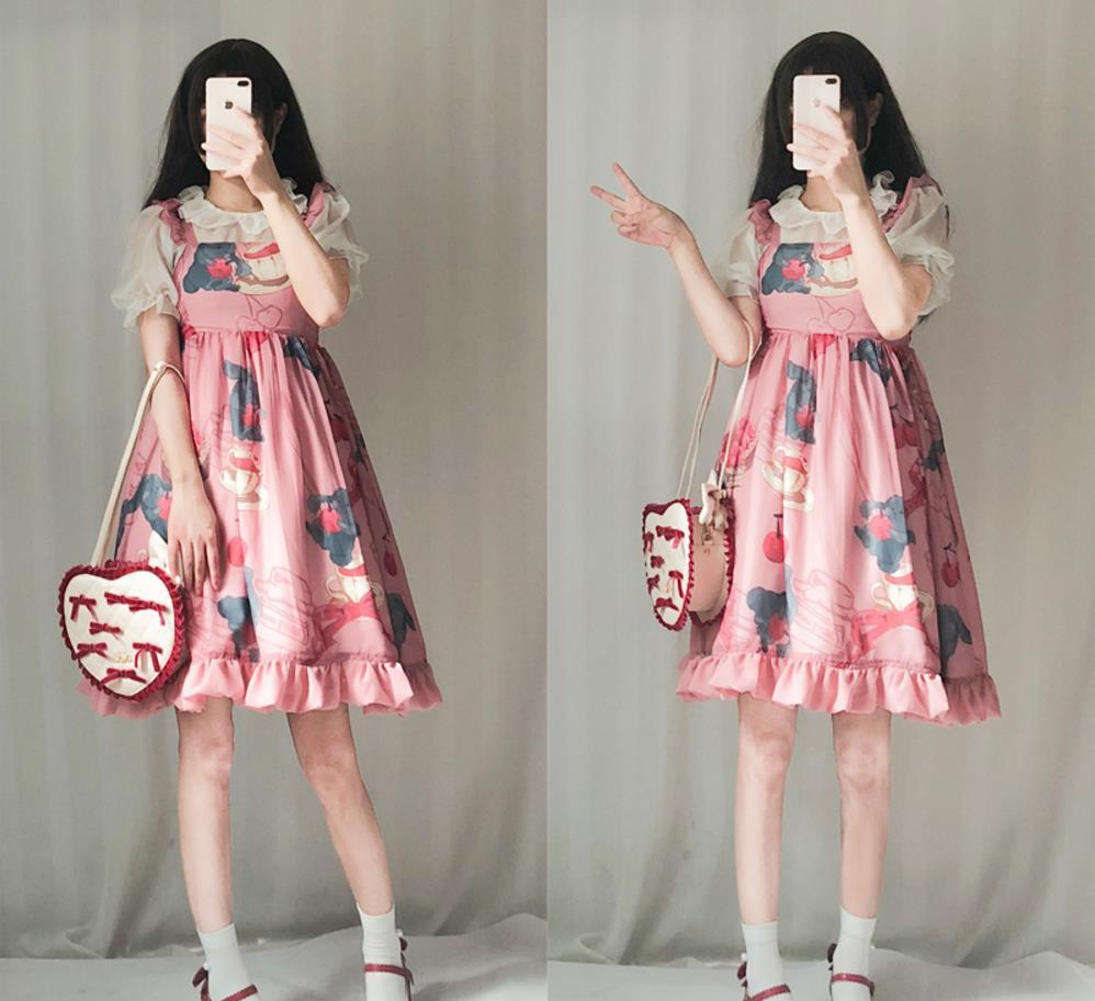 Été nouveau imprimé femmes lolita robe volants sans manches Spaghetti sangle taille haute mignon femme robe japon style doux robe g757