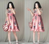 Summer new print women lolita dress ruffles sleeveless Spaghetti Strap high waist cute female dress japan style sweet dress g757
