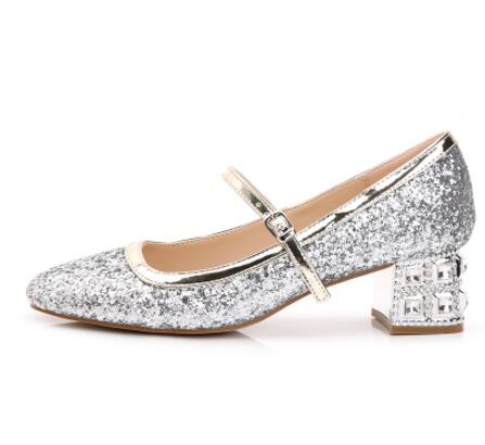 European Style Thick Heels Woman Shoes Round Toe Crystal Embellished Ankle Strap Pumps Bling Glitter High Heel Wedding Shoes лазерный уровень нивелир ada phantom 2d set