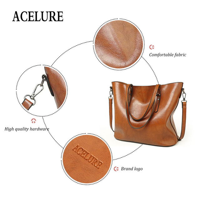 ACELURE Vintage Women Shoulder Bag Female Causal Totes for Daily Shopping All-Purpose High Quality Ladies Handbag bolsa feminina 4
