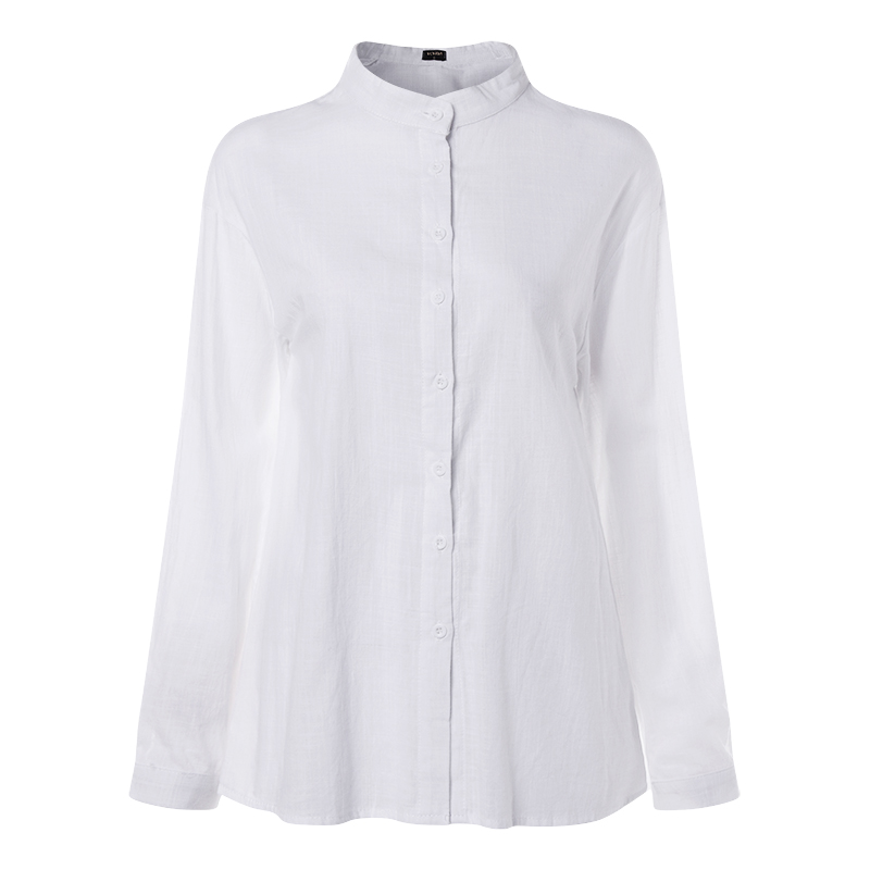 VONDA New Women Blouses 19 Summer Office Lady White Shirts Lantern Sleeve Buttons Deep V Neck White Blouse Sexy Plus Size Tops 20