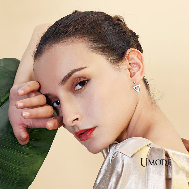 UMODE New 2019 Fashion Triangle 925 Sterling Silver Drop Earring for Women White Gold Geometric Jewelry Pendientes Mujer ALE0590 in Earrings from Jewelry Accessories