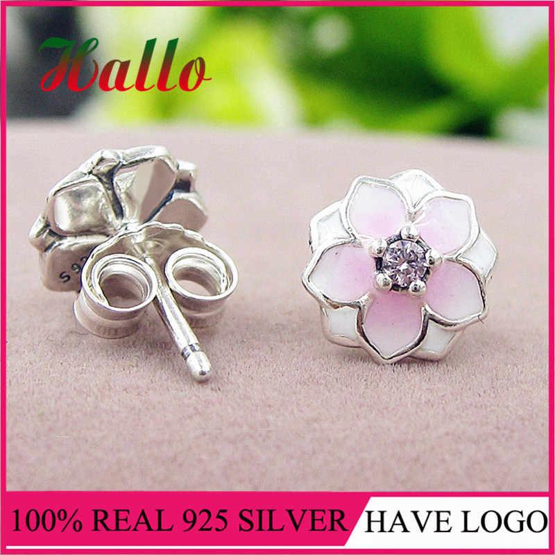 High Quality Real 925 Silver Magnolia Bloom Stud Earrings, Pale Cerise Enamel & Pink CZ.Fashion Earrings Set for Women Wedding.