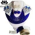 2017 Мода Нигерии Свадьба африканские бусы комплект ювелирных изделий blue Crystal ожерелье Люкс комплект Ювелирных Изделий Бесплатная доставка Набор P-738