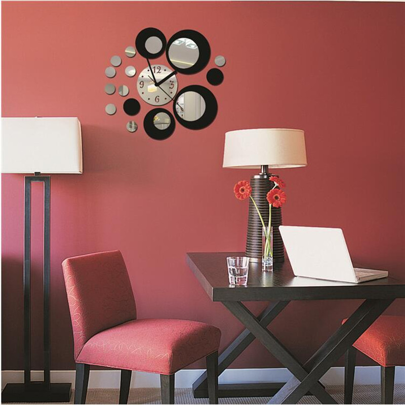 Stylish Home Decorative DIY Acrylic Mirror Style Circles Wall Clock Modern Style Removable Wall Decal Art Sticker Decor in Wall Clocks from Home Garden