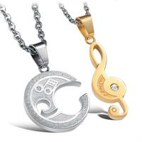Couple Lover Bff Heart Necklace Stainless Steel Pendant CZ Crystal Music Note Heart Men Women Pendant