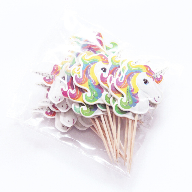 Cartoon Unicorn Shaped Cupcake Toppers 24 pcs Set