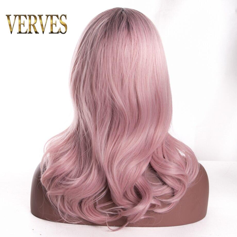 VERVES Ombre tvåton syntetiska hår peruker vågiga cosplay - Syntetiskt hår - Foto 2