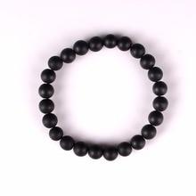 Druzy Natural stone Black Onyx Bracelet 8MM semi precious stone round beads stretch bangle bracelet for men girl women jewelry