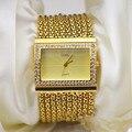 Senhoras Pulseira de Relógios de Pulso de Quartzo das mulheres Relógios de Ouro De Luxo Em Aço Inoxidável Moda Strass Presentes Relogio feminino