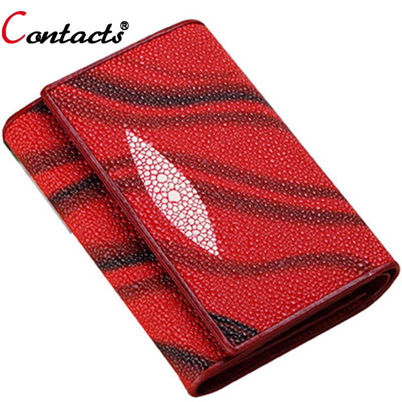 CONTACT S Genuine Leather Wallet Women Bag Luxury Brand Female Purse Card Holder Printing Short Ladies