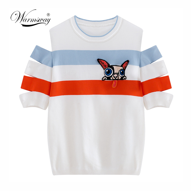 Warmsway Runway Knitting Summer Top tshirt Striped Dog Appliques Sweet T-shirts for Women Novelty Off Shoulder Female C-143