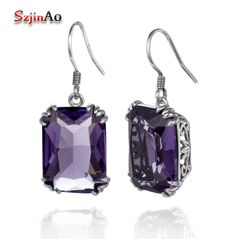 Szjinao Vintage Earrings Jewelry Amethyst Sparkling 925-Sterling-Silver Purple Square-Design