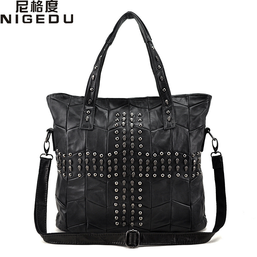 ФОТО Skull Rivet Genuine Leather Women Handbag Patchwork Sheepskin Shoulder Bag Brand Crossbody Bags Casual Tote sac Shopping Bag