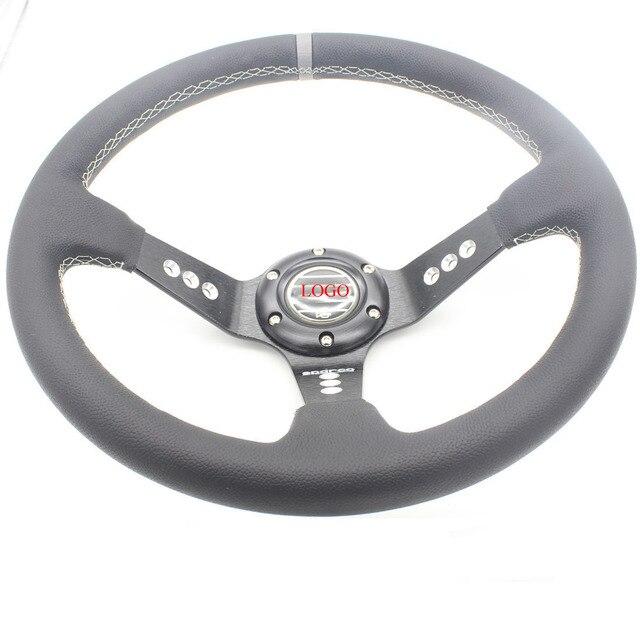 Dongzhen 14 ''355 MM Auto Car Leather Del Cono Profundo Volante Racing Sport Drift Mango Volante Accesorios Del Coche Styling