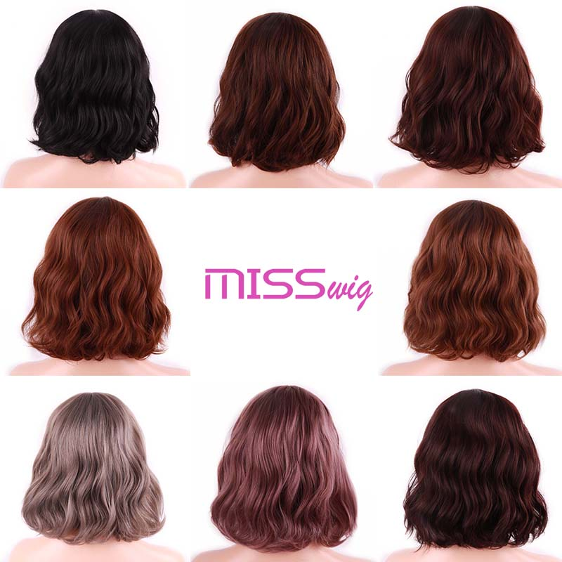 MISS WIG Short Water Wave Synthetic Hair 8Colors Available Wig For Women Heat Resistant Fiber Daily False Hair 5