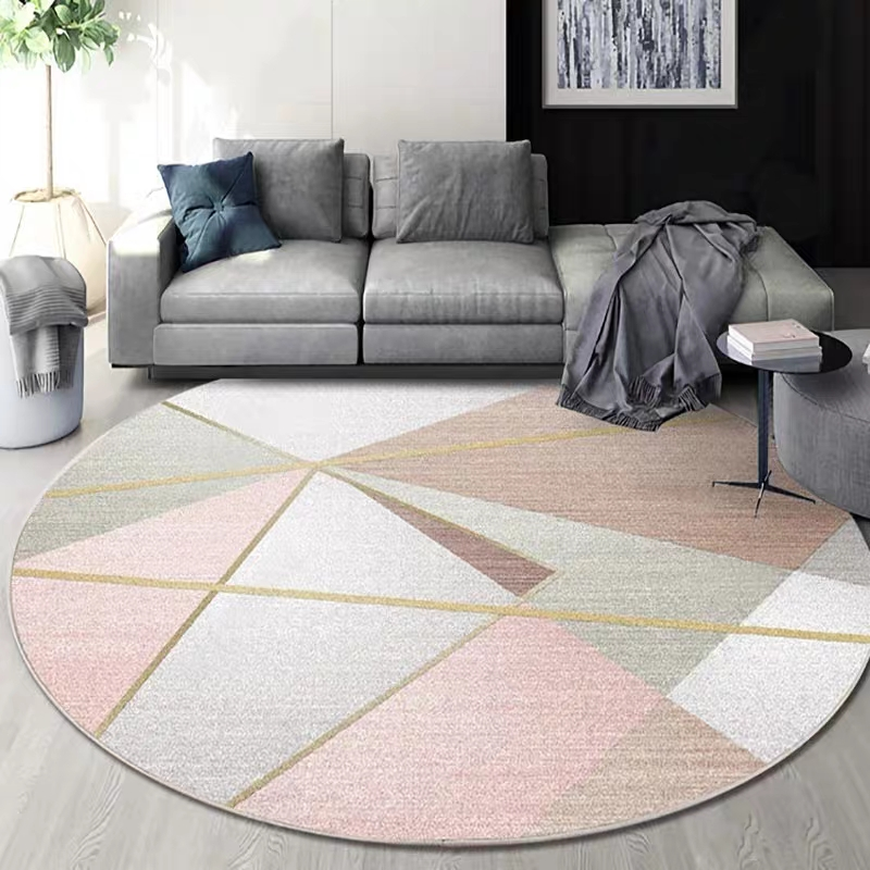 Nordic geometric round shaped living room printed rug decoration parlor carpet hotel carpet INS popular no hair floor mat in Carpet from Home Garden