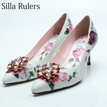 d30d2bd1d1 Silla Rulers 2018 printing patent leather high heel pumps woman sexy  pointed toe crystal Shallow mouth pumps woman party shoes
