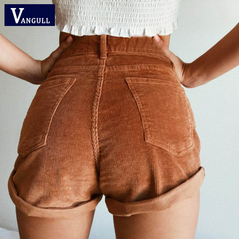 Vangull Elastic High Waist Corduroy Shorts New Women Casual Streetwear Shorts Female Loose Summer Zipper Button Short Shorts