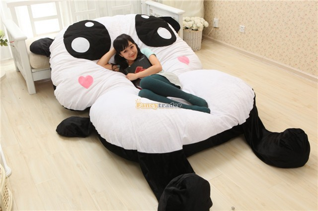 Fancytrader High Quality Lovely Panda Bed 210cm X 150cm Super Cute Huge Giant Panda Bed Tatami Carpet Sofa Free Shipping FT90197 fancytrader new style giant plush stuffed kids toys lovely rubber duck 39 100cm yellow rubber duck free shipping ft90122