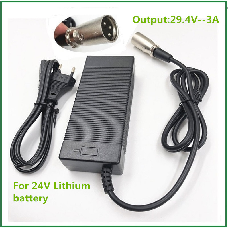 24V E-bike battery charger 29 4V3A out put li-ion battery charger  7 Series  25 2V 25 9V lithium battery charger XLR connector