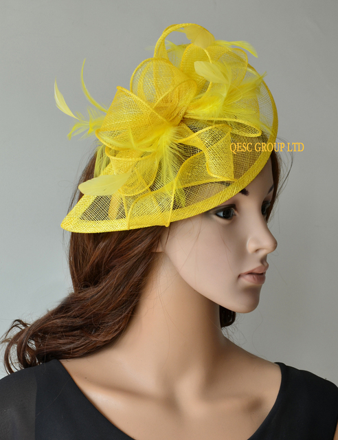 3a56bff792ebb NEW 31 colours Yellow Feather sinamay fascinator hat for Wedding ...