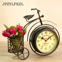 Retro Iron Bicycle Bell Ornamental Clock Household Decor Wrought Furnishing Articles European Rural Table Sitting Room