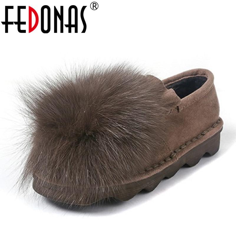 f3422df465 FEDONAS Fashion Sexy Women Flat Heels Sweet Shoes Female Warm Loafers Plush  Inside Snow Shoes Woman Real Fox Fur Casual Shoes