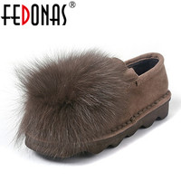 FEDONAS Fashion Sexy Women Flat Heels Sweet Shoes Female Warm Loafers Plush Inside Snow Shoes Woman Real Fox Fur Casual Shoes
