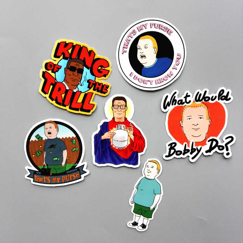 6Pcs/lot Western Anime King of the Hill Sticker For Car Laptop Luggage Skateboard Motorcycle Phone Decal Kids Toy Sticker
