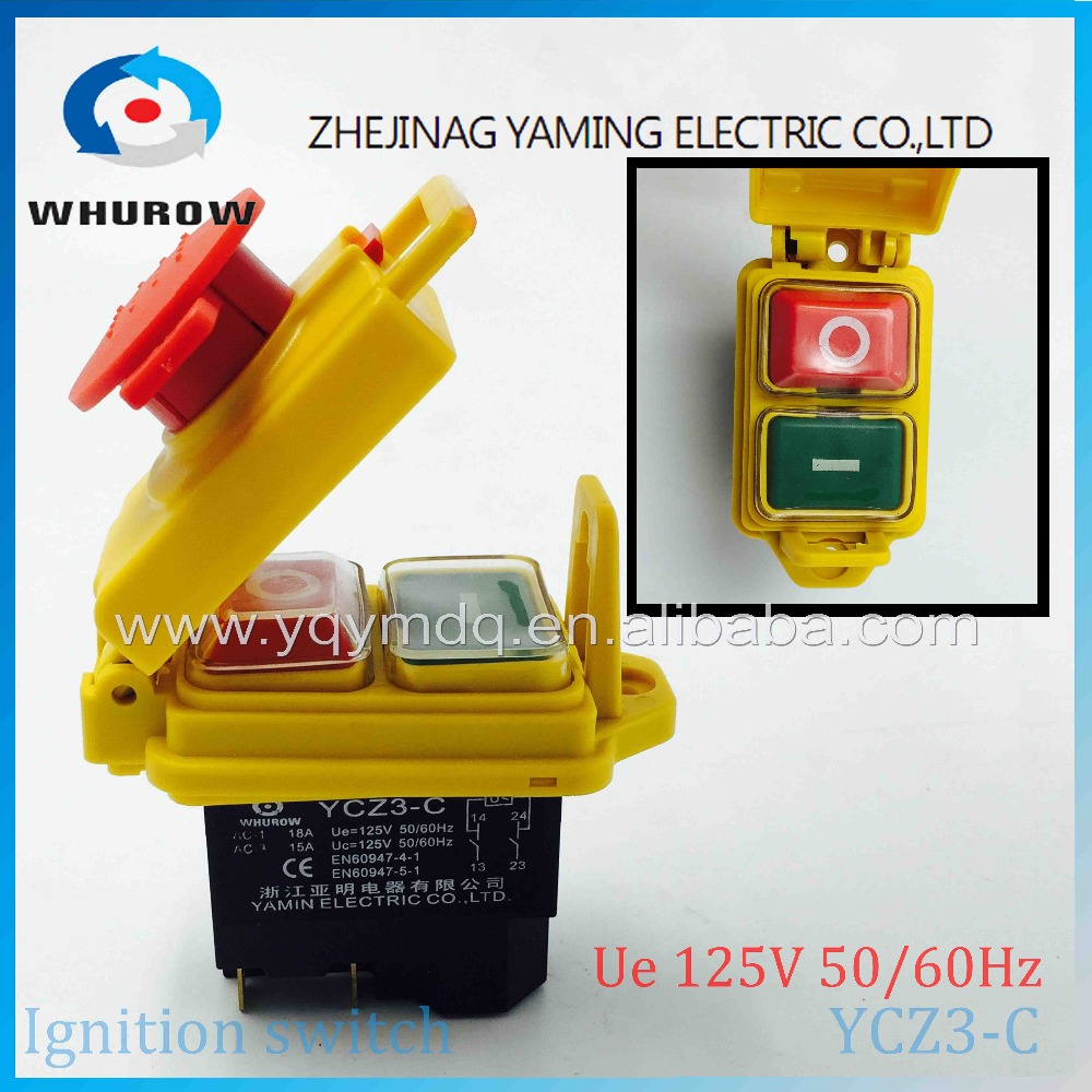 Electromagnetic switch 5 Pin On Off 2 Phase Momentary Push Button Protective cover waterproof YCZ3-C Emergency stop 10A 230V 5 pin dpst 2 phase 2 button momentary waterproof electromagnetic switch 230vac