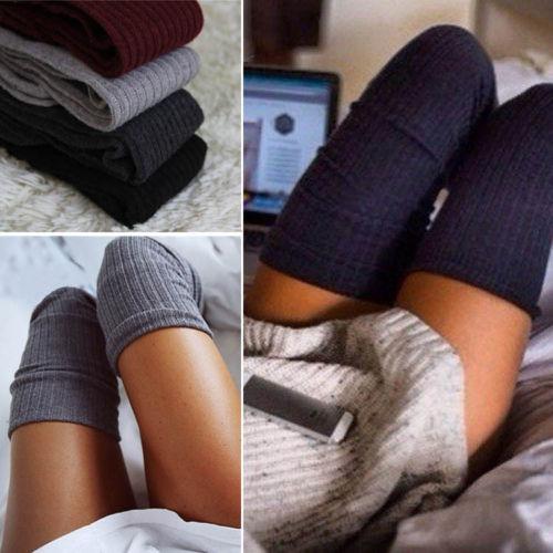 NEW Warm Women's Turn Up <font><b>Rib</b></font> Cotton Long <font><b>Knee</b></font> <font><b>High</b></font> Autumn Winter Boot <font><b>Socks</b></font>