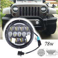 WHDZ 78W 7 LED Headlight Hi/Lo H4 12V Led Turn Signal Auto Driving Light for Offroad Land Rover Defender Jeep Lada 4x4