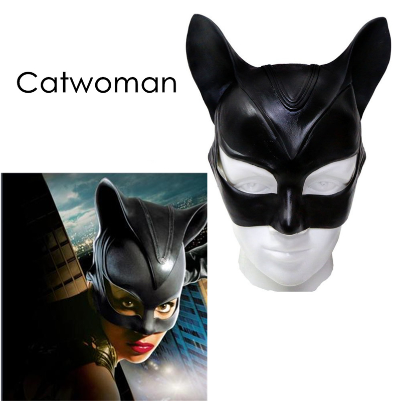 BOOCRE Catwoman Mask Batman Cosplay Costume Sexy Black Half face Latex Helmet Fancy Ball Adult Party Halloween Props Headwear