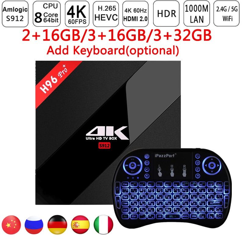 H96 Pro Plus+ Android 7.1 Smart TV Box 3GB 32GB Amlogic S912 Octa Core BT 4.1 2.4GHz+5.0GHz WiFi Mini PC Media Player PK X96 h96 pro plus tv box smart android 7 1 s912 bt4 1 octa core 4k 3gb 32gb 1000lan 2 4g 5 0g wifi media player pk x92 tx9 pro