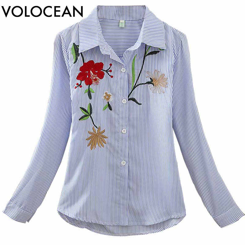 Volocean 2019 Women Striped Blouse Embroidered 5 Style Shirt Blusas Kimono Hem Appliques Blouse Top Tee Casual Female Blouse