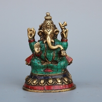 Nepalese pure copper turquoise, elephant trunk, God of heaven, objects like home decoration