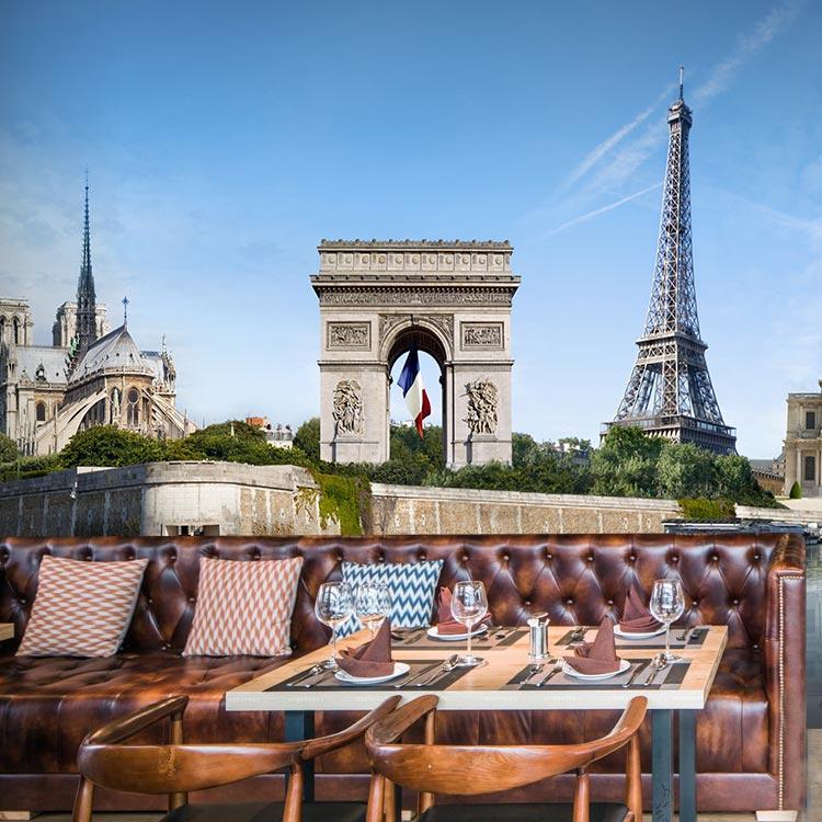 Individuelle fototapeten Paris turm Triumphbogen landschaft 3D große ...