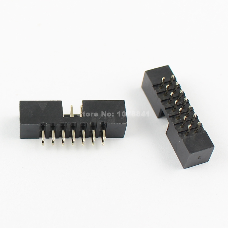 10 Pcs Per Lot 2mm 2x7 Pin 14 Pin Straight Male Shrouded Pcb Box Header Idc Socket