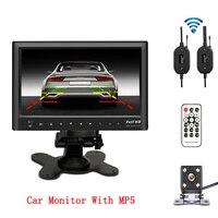 Wireless 7 Slim Car Rear View Monitor Bluetooth USB MP5 Player With Mini 4 IR LED Lights Backup Camera Night Vision Waterproof