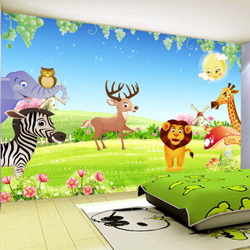 Custom mural wallpaper roll for wall non woven 3d embossed for Cartoon mural wallpaper