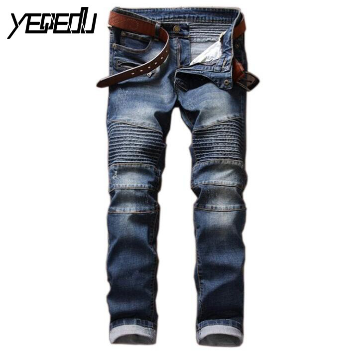 ФОТО #3404 Stretch jeans men Skinny ripped jeans for men Fashion Slim Biker denim jeans Motorcycle trousers Destroyed brand jeans