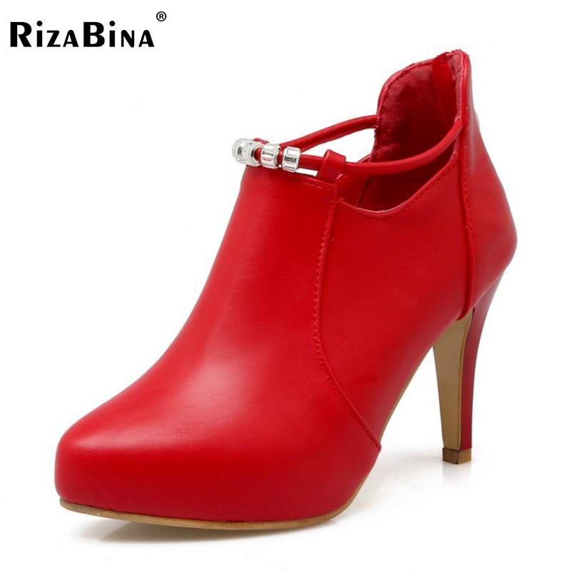 RizaBina Spike High Heels Ankle Boots Lady Beading Crystal Platform Heel Shoes Women Pointed Toe Boats Party Footwear Size 34-39 rizabina women spike heel ankle boots woman pointed toe high heel ladies gladiator tassel ankle strap botas mujer size 34 47