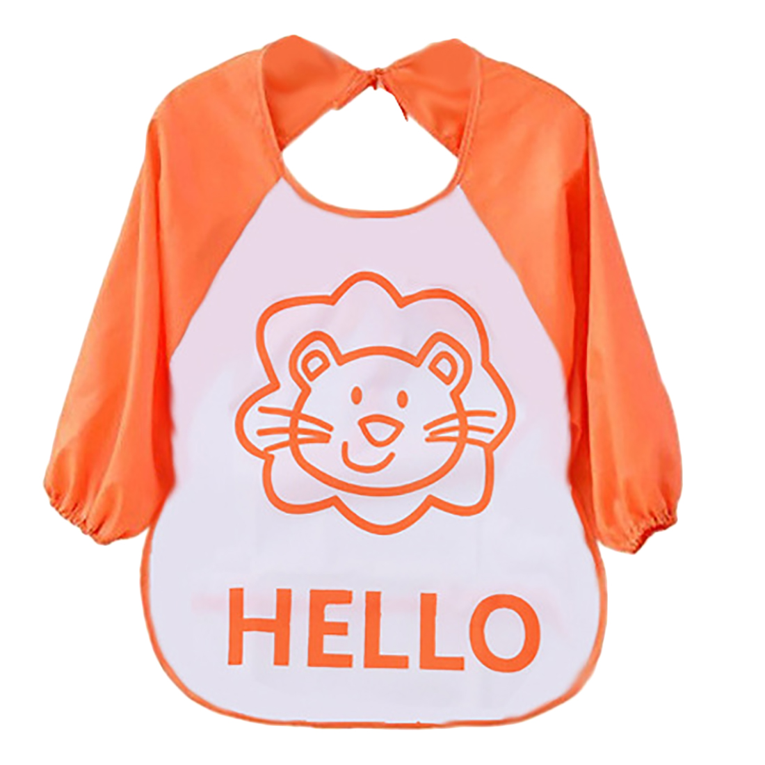 Baby Bib Apron Unisex Cartoon Animal Infant Toddler Baby Waterproof Long Sleeve Lion Pattern Bib Apron Kids