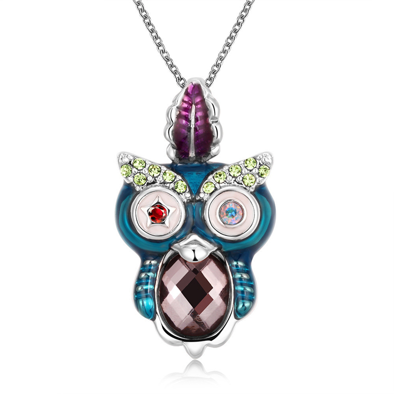 SHUANGR Fashion Design Personality Cute Owl Pendant Necklace Special Animal Shape Necklace Sweater Chain Jewelry