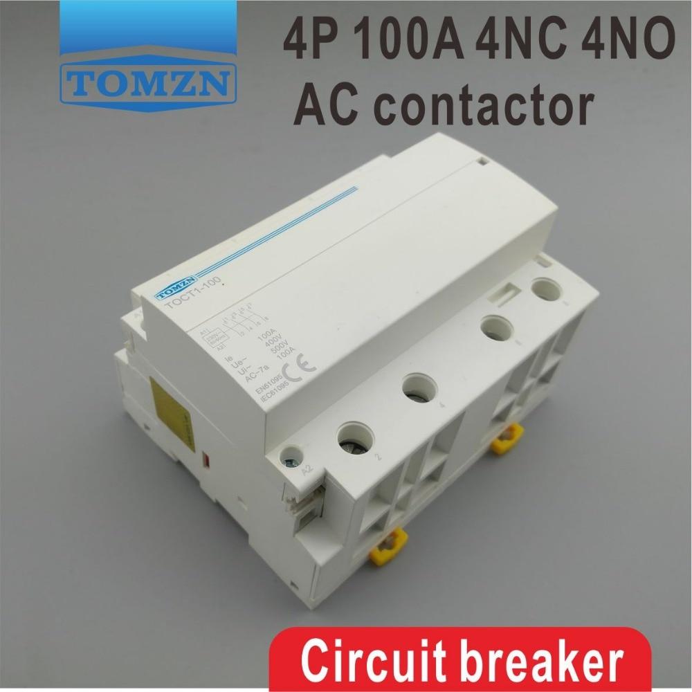 TOCT1 4P 100A 4NO 230V 50 60HZ Din rail Household ac Modular contactor four normal open