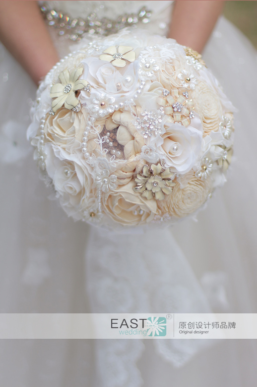 Creative jewelry dried flowers bridal bouquet, Ivory White wedding ...