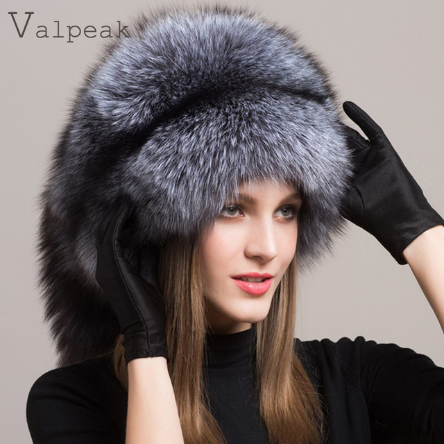 552b857e Valpeak Women Winter Fur Hat Real Integral Fox Fur Hats with Russian  Mongolian Womens Fur Hats