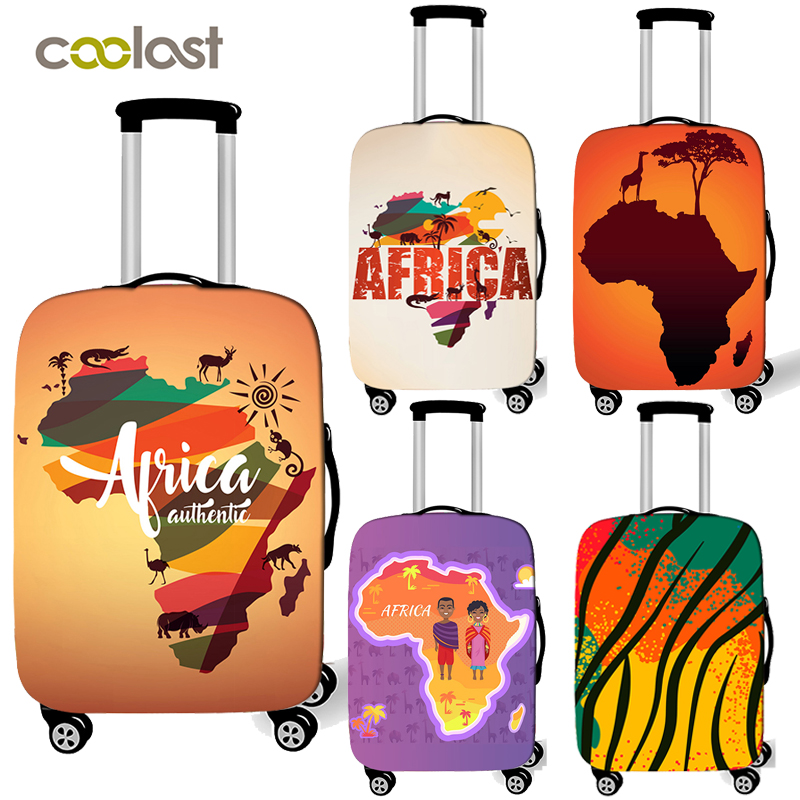 Africa Map/Africa Print Pattern Elastic Suitcase Covers  Luggage Cover For Travel Anti-dust Trolley Case Protective Cover